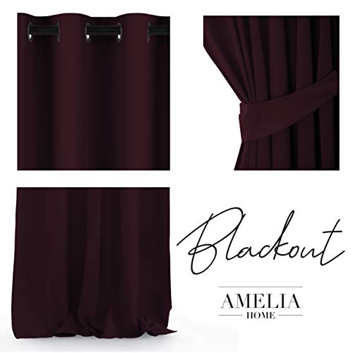 AmeliaHome Blackout gordijn 1 st. ondoorzichtig, polyester, bordeaux, 140x245