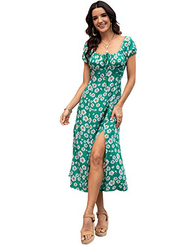 Off Shoulder Floral Party Dress,Womens Sweetheart Neckline Bohemian Printing Summer Beach Dresses Short Sleeve Floral Casual Loose Side Split Cocktail Party Maxi Dress Green XL