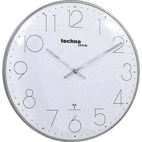 moderne, filigrane Funkwanduhr mit gewölbter Glasabdeckung und einem sehr übersichtlichen Ziffernblatt, von Technoline, Ø 35 cm, Chrom - Optik