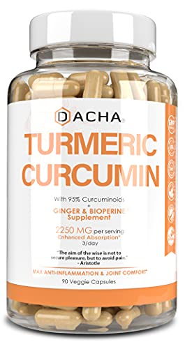 Triple Strength Tumeric Curcumin Supplement - 2250mg Joint Support Supplements Turmeric with Black Pepper Bioperine Ginger 95% Curcuminoids Anti Inflammatory Capsules Antioxidant Back Pain Relief…