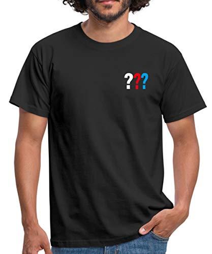 Die DREI Fragezeichen Kleines Logo Männer T-Shirt, XL, Schwarz