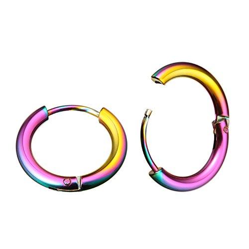 Acciaio INOX Koker 3/20,3cm (10mm) 18g (sottile) orecchini a cerchio a cerniera continua segmento anello Body piercing, acciaio inossidabile, colore: Rainbow,Inner Diameter:10mm, cod. KU1709EHQCx1