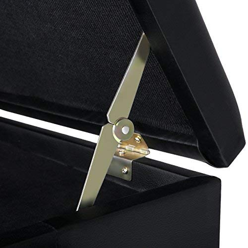 SONGMICS Adjustable Wooden Piano Bench Stool with Sheet Music Storage Black ULPB57H