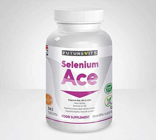 Selenium 220mcg High Strength 365 Tablets (1 Year's Supply) Aids Immune System, Thyroid, Hair and Nail Health, Fertility, Made in UK Futurevits Organic Supplement.
