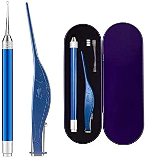 JESSICAR Ear Pick Set of Ear Pick Spoon and Ear Tweezers, Ear Wax Removal Tools with LED Light, Ear Cleaning Kit with Storage Box, Visible Ear Care Tool Accessories (Blue-2 Piese Set)