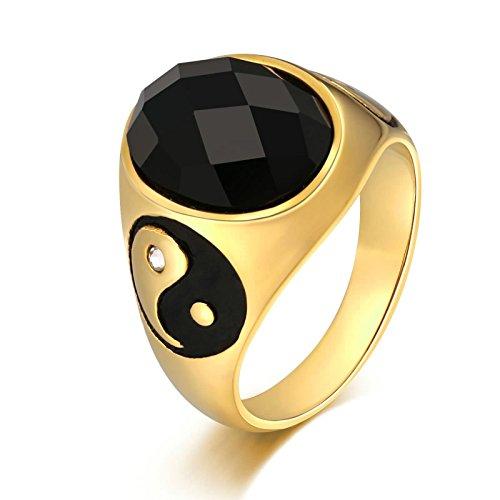 KnSam Anillo para hombre, anillo de boda Yin Yang de acero inoxidable, anillo de sello para hombre, con circonita, plata anillo con grabado gratuito, Acero inoxidable, Circonita cúbica.,