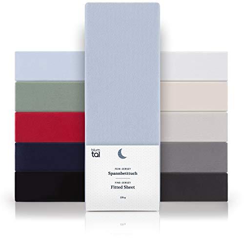 Blumtal Basics Baumwolle 2er Set Topper Spannbettlaken 120x 200 cm - 100% Baumwolle Bettlaken, bis 6cm Topperhöhe, Hellblau