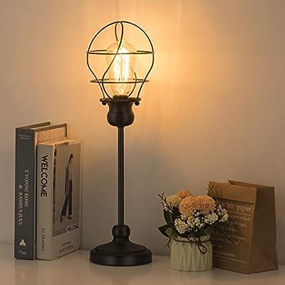 HAITRAL Vintage Table Lamp - Modern Nightstand Lamp, Simple Bedside Desk Lamp for Bedroom, Living, Office with Metal Base, Black