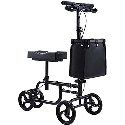 PINGJIA Ancianos Movilidad Rolling Walking Aids Knee Walker - Scooter Orientable con Almohadilla Ajustable para Las Rodillas Manillar Y Bolsa De Almacenamiento para Lesiones De Tobillo Y Pie