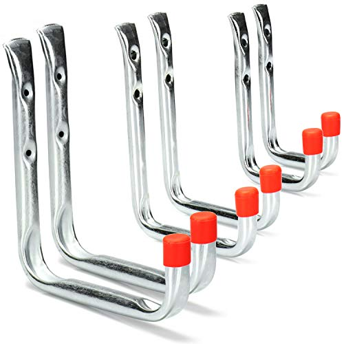 Com-four 6 Piece Wall Hook Assortment, Garage or Shed Wall Hooks Workshop Metal Hooks with Fixing Material to Screw on