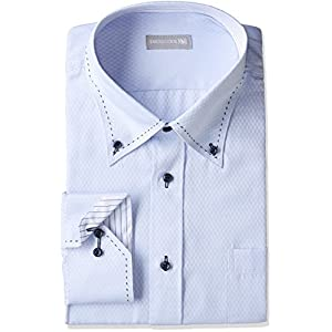 [ドレスコード101] 形態安定加工 ワイシャツ 襟高デザインでカッコよくきまる 長袖Yシャツ 豊富なサイズでピッタリが見つかる 形状記憶 SHIRT-1000 メンズ 1005 ブルー(チェック) 首回り49cm×裄丈88cm
