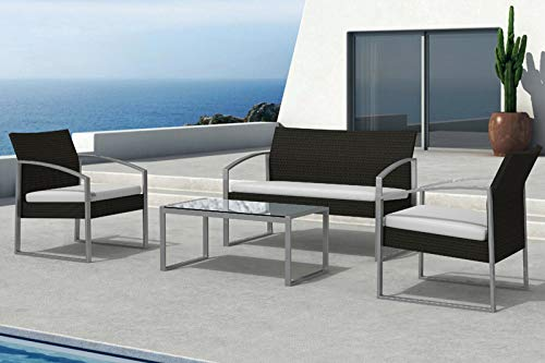Am Group Home Set Mobili Giardino 4 posti con tavolino, poltroncine, divanetto in polyrattan Esterno Giardino, Salottino da Giardino - Thiago (Marrone)