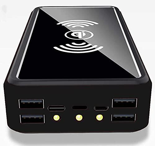 YLDXP Banco de energía Solar de 100000 mAh, Cargador portátil inalámbrico, Panel Solar, batería Externa, Cargador de teléfono Solar Tipo C, 5 V, 4 USB, con Linterna LED, Cargador Solar Compatible