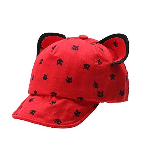La Cabina Bébé Casquette de Baseball -Chapeau Enfants d'été-Chapeau Fille Garçon de Plage -Chapeaux de Soleil Protection -Chapeaux 0-3 Ans (Rouge)