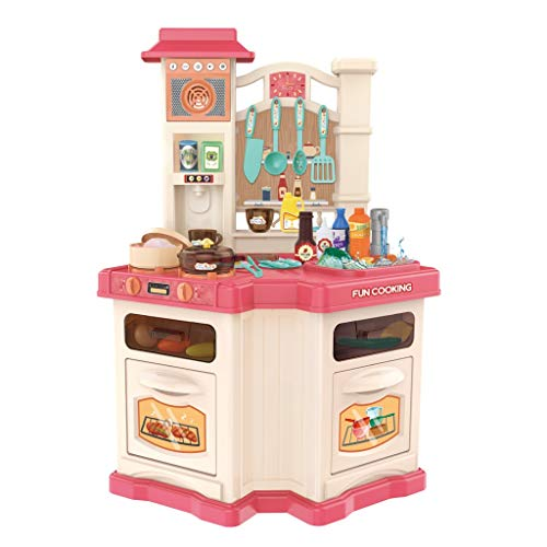 Role Play Chefs Kids Kitchen Playset, Delights Children Mini Pretend Play Kitchen Sets With Window and Simulated Real Cooking, Water Boiling Sounds, Best Gift for Boys and Girls (Pink)