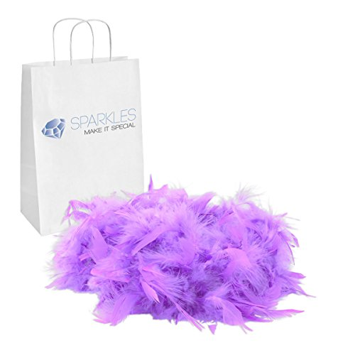 Sparkles Make It Special Feather Boa - 2 Yards (6 Foot) Kids Birthday Bachelorette Mardi Gras Party Wedding Halloween Dress Up Costume Accessory - 13 Colors - Lavender