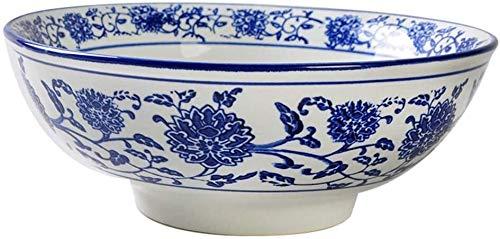 SIRENK Bowls de arroz Azul y Blanco - Porcelana China Oriental - 3 Piezas de vajilla de Porcelana Azul y Blanca - Adecuado para hoteles, restaurantes, restaurantes, familias 8 Pulgadas 1000ml