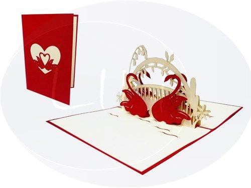 POP UP 3D wenskaart bruiloft felicitatie bruiloft uitnodigingen hart staarten (#87)
