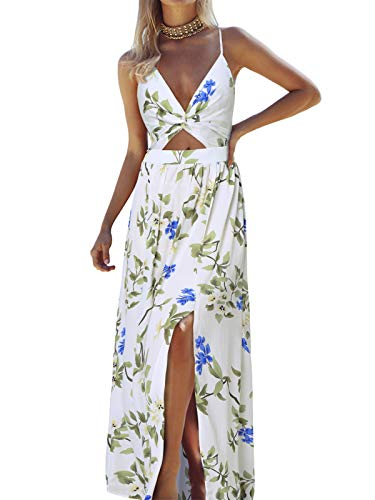 Kenoce damska sukienka maxi, letnia sukienka koktajlowa, długie kwiaty, dekolt w serek, duże rozmiary, kolorowa letnia sukienka, C2-biały, XXL