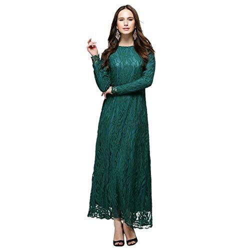 Meijunter Muslimisches Kleider für Damen - Spitze Langarm Kleid Ethnische Kleidung Abaya Arabisch Dubai Kaftan Grün M