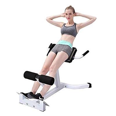 Roman Chair, Hyperextension Bench Adjustable 45 Degree AB Back Abdominal Exercise Sports Machine White & Black