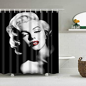3D Marilyn Monroe Shower Curtain Set Black and White Retro Fabric Shower Curtain Liner Modern Waterproof Polyester 36  W x 72  H