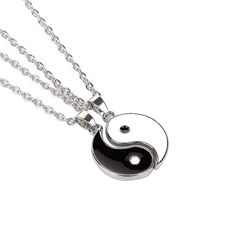 Yinyang Bff Couples Pendant Necklace Chain for Women Mens Personalized Matching Puzzle Diagrams Best Friend Necklaces Gifts for Girlfriend Valentines Birthday