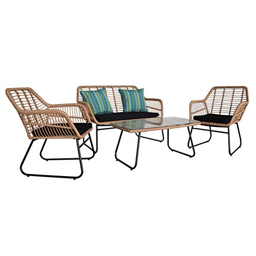 HO.FMA Outdoor Wicker Rattan Chair Patio Furniture Set, 4 Piece Patio Furniture Set with 2 Cushioned Chairs & End Table for Indoor, outdoor patio, porch, poolside and yard
