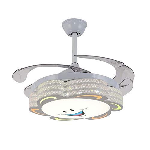 FUSKANG Sala de 42 Pulgadas Ventilador de Techo Infantil con iluminación, 4 retráctil Cuchillas 3 velocidades, el Accesorio de iluminación de LED [Clase energética A ++]