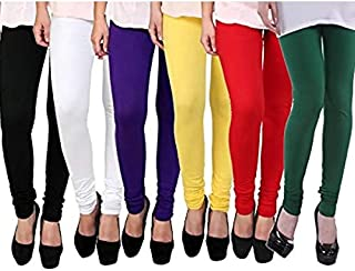 Starteam Women's Fashion Leggings Soft Quality Regular Fit Chudidar Leggings fit to Waist Multicolour Free Size (Combo of ...