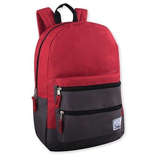 Multi-Color Back Pack with Adjustable Padded Shoulder (Red)