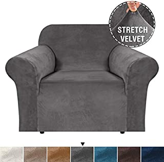 H.VERSAILTEX Stretch Velvet Sofa Cover 1 Seater Couch Covers 1 Cushion Armchair Covers for Couch Living Room Armchair Slipcovers for Chairs, Feature Soft Thick and Non Slip (Chair 32