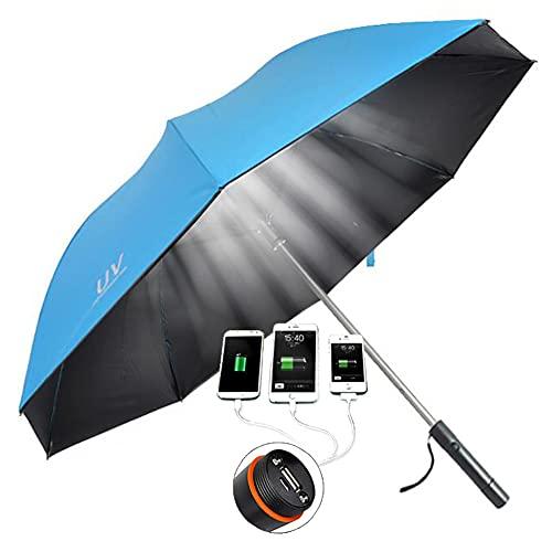 ZDSKSH Paraguas Largo, Ventilador Incorporado protección Ultravioleta Paraguas de Lluvia a Prueba de Viento Carga USB, Evitar Quemaduras solares Parasol de Piel