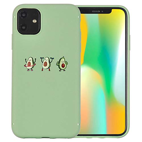 JOYLAND Light Green Phone Case Cover for iPhone 11 Pro Max Lovely Cute Cartoon Avocado Bodybuilding Fitness Phone Case Cover Silica Gel Bumper Avocado Green Protective Shell for iPhone 11 Pro Max