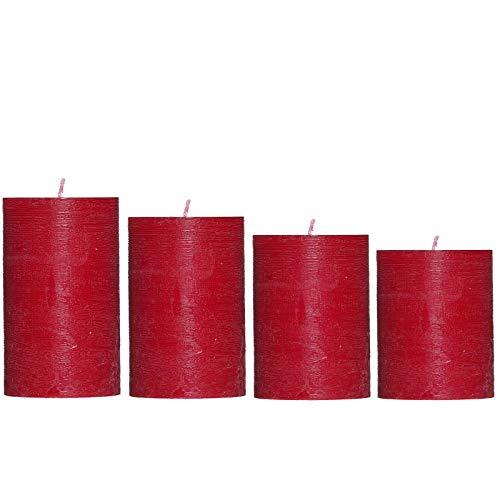 Smart-Planet® Kerzen Ambiente Weihnachten - 4er Set rote Adventskranz Kerze Höhe 8/10/12/14 cm Ø 6,8 cm Farbe rot Advent Weihnachtskranz