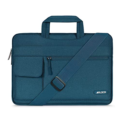 MOSISO Laptop Shoulder Bag Compatible with MacBook Air 13 inch A2337 M1 A2179 A1932/Pro A2338 M1 A2251 A2289 A2159 A1989 A1706 A1708, Polyester Flapover Briefcase Sleeve Case, Deep Teal