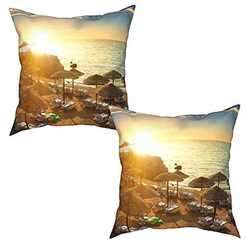 Paquete de 2 Fundas de Cojín Fundas de Almohada,Playa del Mar Rojo con sombrillas al Atardecer,cuadradas Cojín Liso Decoración para el hogar Decoraciones para sofá Sofá Cama Silla (45x45cm) x2