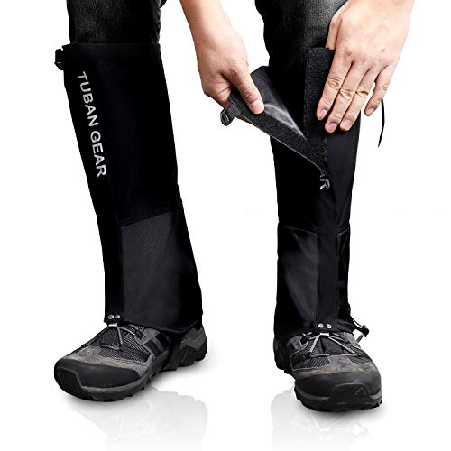 Outdoor Gamaschen, wasserdichte Staubdicht Einstellbare Atmungsaktive Beinschutz Gaiter für Outdoor-Hosen zum Wandern, Klettern,Trekking, Schneewandern 1 Paar (Schwarz, XL)