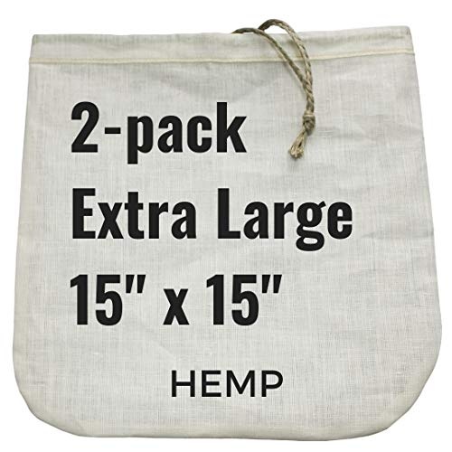 2 Extra-Large Nut Milk Bags - 15 x 15 - All Natural Hemp Reusable Food Strainer for Yogurt Cheese Nut Milks Tea Coffee More - 100 Eco-Friendly hemp