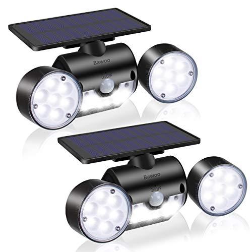 Solarlampen Garten Bawoo LED Solarleuchten für Außen 2 Stück Wandleuchte mit bewegungsmelder Solar IP65 Wasserdicht Aussenlampen 360°Drehbar Dual Lichtkopf