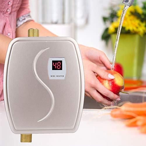 Calentador de Agua Instantáneo, Mini Calentador Eléctrico, 3000W Calentador de Agua Sin...