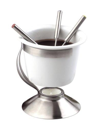 * Chocoladefondue set roestvrij staal aardewerk wit 130x140x180mm