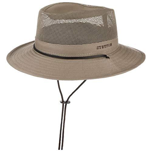 Stetson Takani Safarihut Damen/Herren - Hut aus 100% Baumwolle - Stoffhut mit UV-Schutz 30 - Sonnenhut mit Kinnband - Knautschbarer Netzeinsatz - Traveller beige XL (60-61 cm)