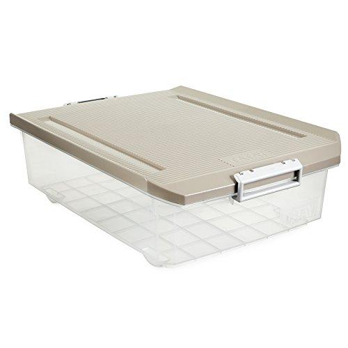 Tatay 1151223 Caja de Almacenamiento Multiusos Bajo Cama con Tapa, 32 l de Capacidad, Plástico Polipropileno Libre de BPA, Marron Taupé, 40 x 56 x 17,5 cm