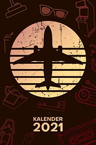 KALENDER 2021 A5: für 70er Liebhaber - Flugzeug Retro Terminplaner mit DATUM - Retro Organizer für Termine - Wochenplaner von Januar bis Dezember - 1 Woche auf 2 Seiten mit Kalenderwoche