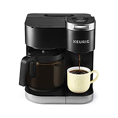 Keurig K-Duo Coffee Maker, Single Serve and 12-Cup Carafe Drip Coffee Brewer, Compatible with K-Cup Pods and Ground Coffee, Black