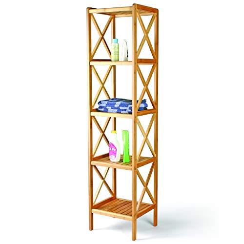 CUCO'S NEST Estantería para Baño estilo colonial con estructura y estantes de madera natural de Bambú y estantes, 5 NIVELES (36,5 x 33 x 153 cm)