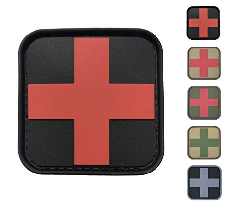 Medic Cross First Aid Morale Patch - Perfect for IFAK Rip Away Pouch, EMT, EMS, Trauma, Medical, Paramedic, First Response Rescue Kit, Tactical, Combat, Emergency, Blow Out, EDC Bag (Black-Red)