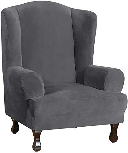 BANNAB Fundas de Terciopelo para sillones de Orejas Fundas de sofá de Felpa Ultra Suave Funda para Muebles de 1 Pieza/Funda para sillón de Orejas con Fondo elástico, Lavable a máquina (Azul Marino)