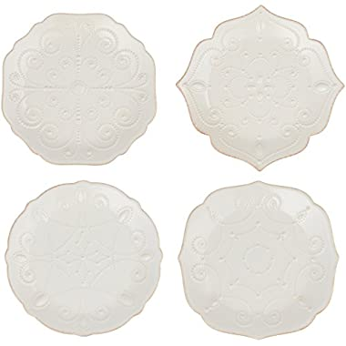 Lenox French Perle Assorted Plates, 7.5-Inch, White, Set of 4